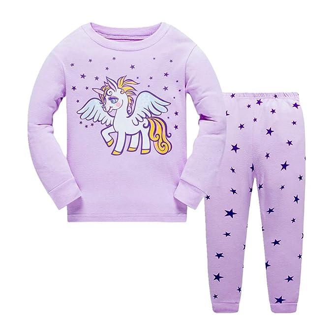 Chicas de niños Pijamas Set de Dibujos Animados Unicornio Ropa de Dormir Manga Larga algodón Ropa