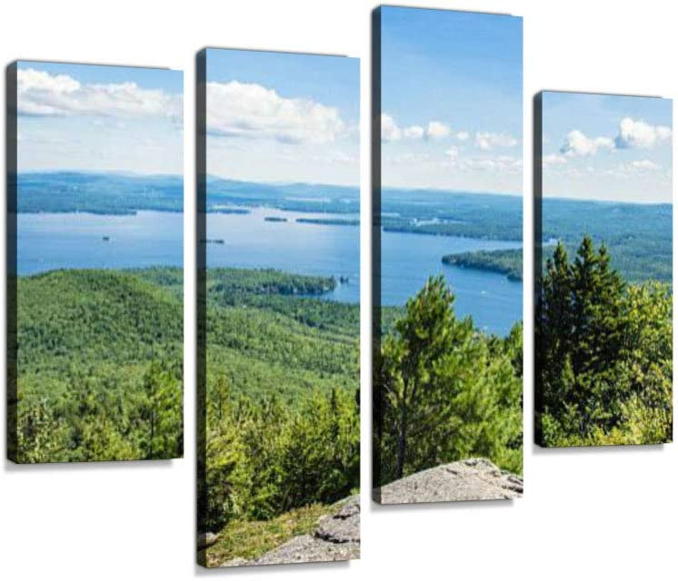 Idyllic Lake Winnipesaukee Canvas Wall Art Hanging Paintings Modern Artwork Abstract Picture Prints Home Decoration Gift Unique Designed Framed 4 Panel