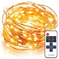 Indoor LED String Lights - 100LED White Warm Christmas Lights - 33Ft Flexible Copper Wire - Remote Control With 11 Brightness Modes & Timer - Durable String Lights For Trees, Home Décor, Party & More