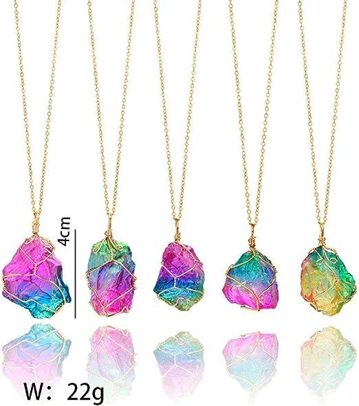 Kristall Quarz Anhänger, Regenbogen Stein, natürlich vergoldeter Schmuck, für Frauen und Mädchen. modisch mehrfarbig