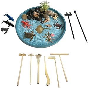 Mini Zen Garden Sea Life and Tool Rake Set