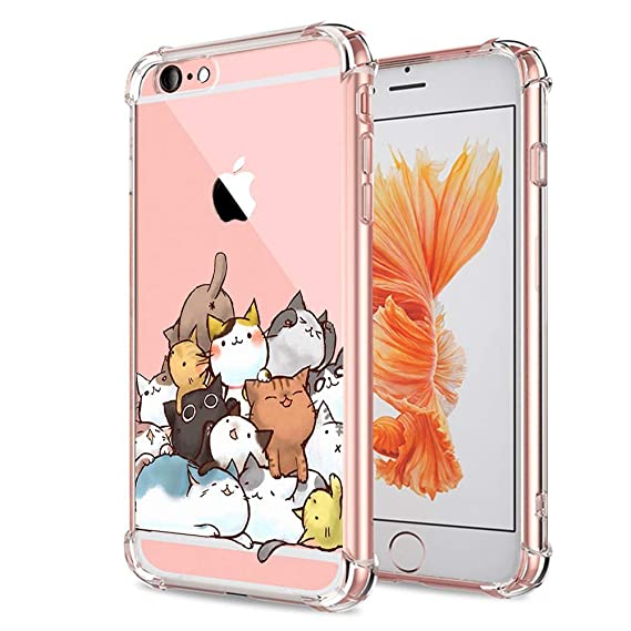 outlet store 57f1f 8c721 Cat iPhone 6 Plus 6S Plus Case Clear Cute Funny Kitten Design for Girls  Boys Kids Bumper Protective Cover for Apple iPhone 6 6S Plus Flexible Soft  Gel ...