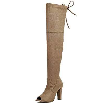 a67dbba215d DasiaH3 Taupe F-Suede Over Knee/Thigh High Boots w Peep Toe, Chunky