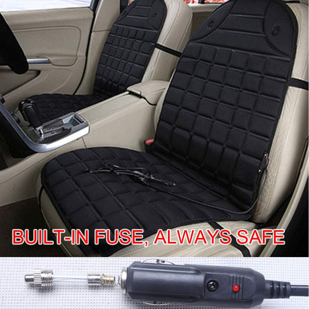 Black Single 78Henstridge Heated Car Seat Cushion 12v Universal Car Heated Seat Cover with Temperature controller Car Seat Heater Pad