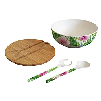 Ppd Tropical Bamboo Salatschussel Mit Deckel Und Besteck Salat