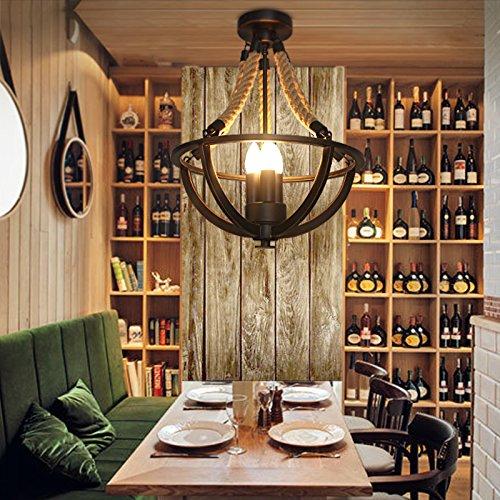 Damjic American Country Vintage Industrieller Hanf Seil Eisen Decke Decke Lampen Schlafzimmer Decke Lampen 38W  47 Uhr Einfache Restaurant