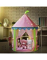 Mädchen Prinzessin Schloss Zelt mit 5 Meter Batteriebetriebene Innendekoration Lichterketten 50pcs LED Schneeflocken Beleuchtung-Sonyabecca Pink Playhouse für Mädchen Pop up Zelt Lesesaal