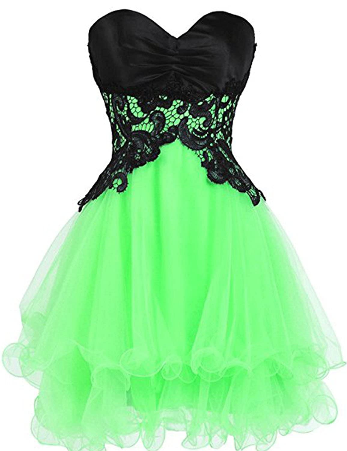 Bright Green YIRENWANSHA Sexy Short Homecoming Dress Elegant Satin Knee Length Tulle Prom Party Gown YJW3