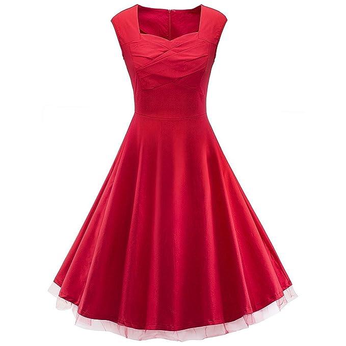 Wefchogvr Vestido De Mujer De Los Años 1950 Audrey Hepburn Vestido Rojo Vintage para Vestido De Novia: Amazon.es: Ropa y accesorios
