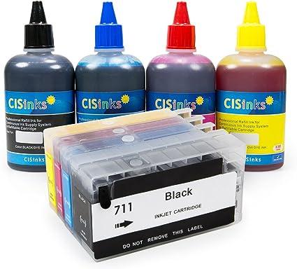cisinks Kit de cartucho de tinta recargables con botella de recarga Set para HP 711 Designjet T120 T520 – HP711: Amazon.es: Oficina y papelería
