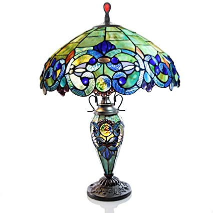 Amazon Com 26 H Stained Glass Victorian Style Double Lit Table