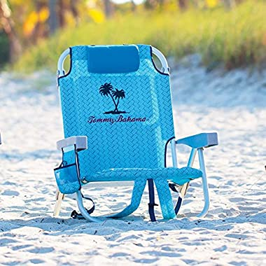 Tommy Bahama 2015 Backpack Cooler Chair with Storage Pouch and Towel Bar, Blue