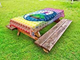 Lunarable Mandala Outdoor Tablecloth, Meditation Yoga Theme Ethnic Patterns Human Chakra and Mandala Print Asian Design, Decorative Washable Picnic Table Cloth, 58 X 120 inches, Multicolor