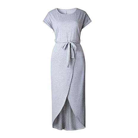 626a9d0021e Amazon.com  LDRLSZ Summer Short Sleeve Bodycon Party Dress Plus Size Sexy Women  Long Maxi Boho Dress Elegant Female Boho Beach Midi Dress Gray S  Sports    ...