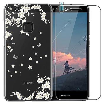 Funda Huawei P10 Lite [con Protector de Pantalla de Vidrio Temperado] Blossom01 Ultra Fina de Gel de Silicona TPU Carcasa Huawei P10 Lite (Flores de ...