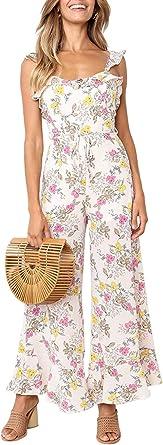 Floral Print Tie Waist Strappy Sleeveless Slit Leg Summer Jumpsuit