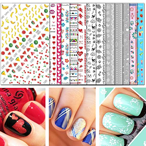 TailaiMei 3D Nail Decals Stickers, 1600+ Pcs Self-adhesive Tips DIY Nail Art Design Stencil (12 Large Sheets)]()