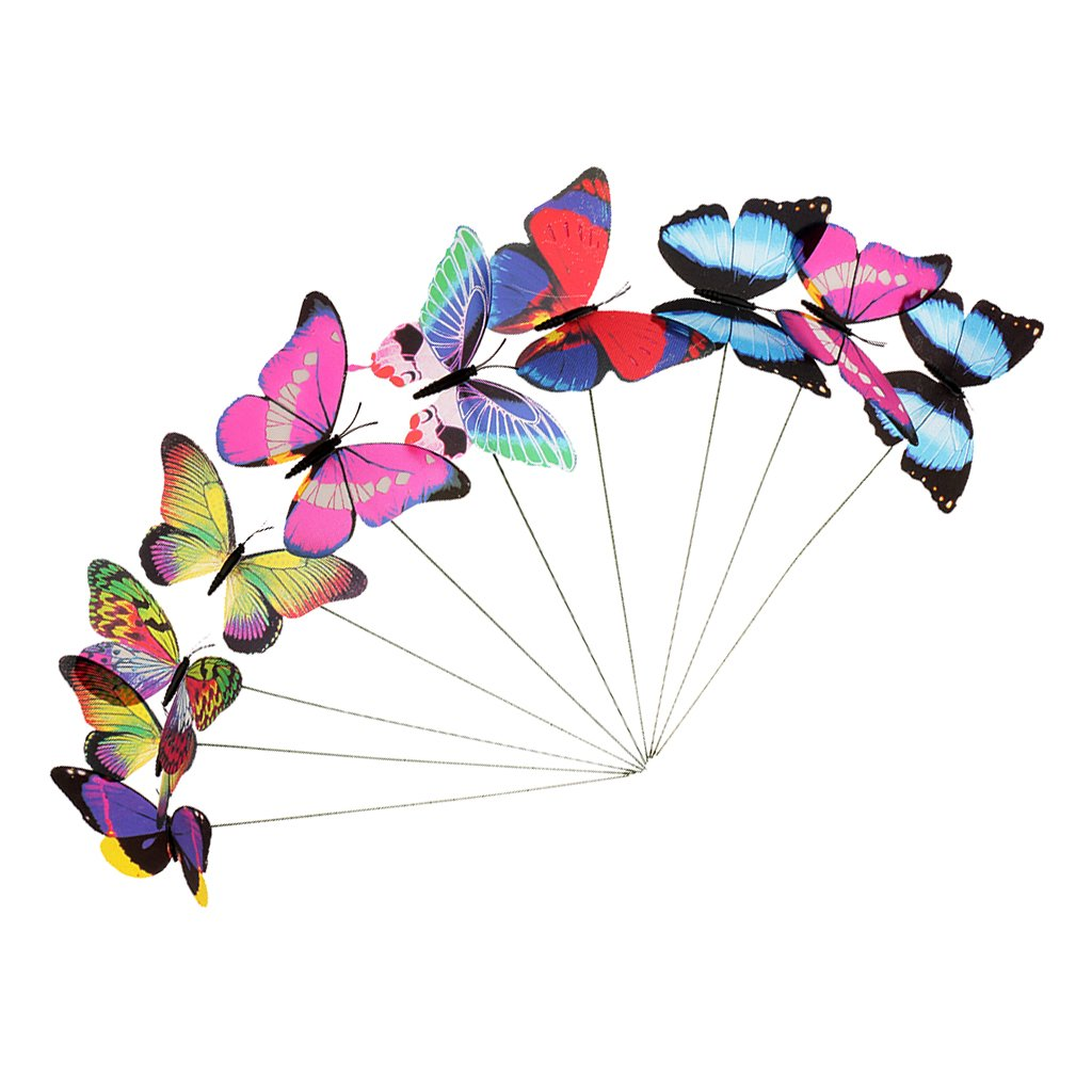 Colorful Flying Butterfly on Stick Model Home Garden Lawn Ornament 12x7.5CM Generic