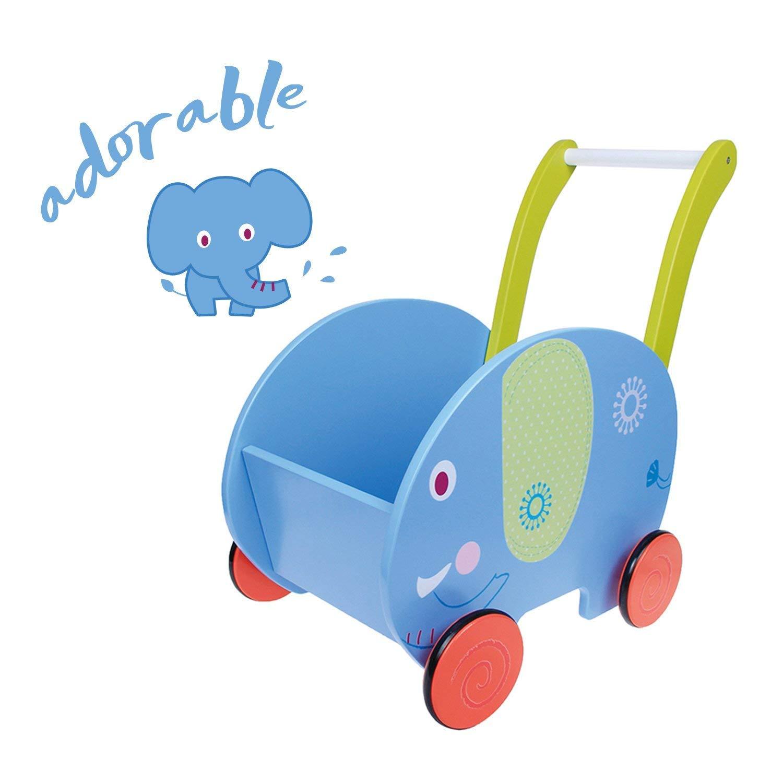 Labebe Chariot Enfant, 2-en-1 Utilisation comme Trotteur Enfant, Bleu éléphant Trotteur Bois pour 1 An et Plus, trotteur bébé fille/Chariot bois/trotteur pousseur bébé/chariot marche product image