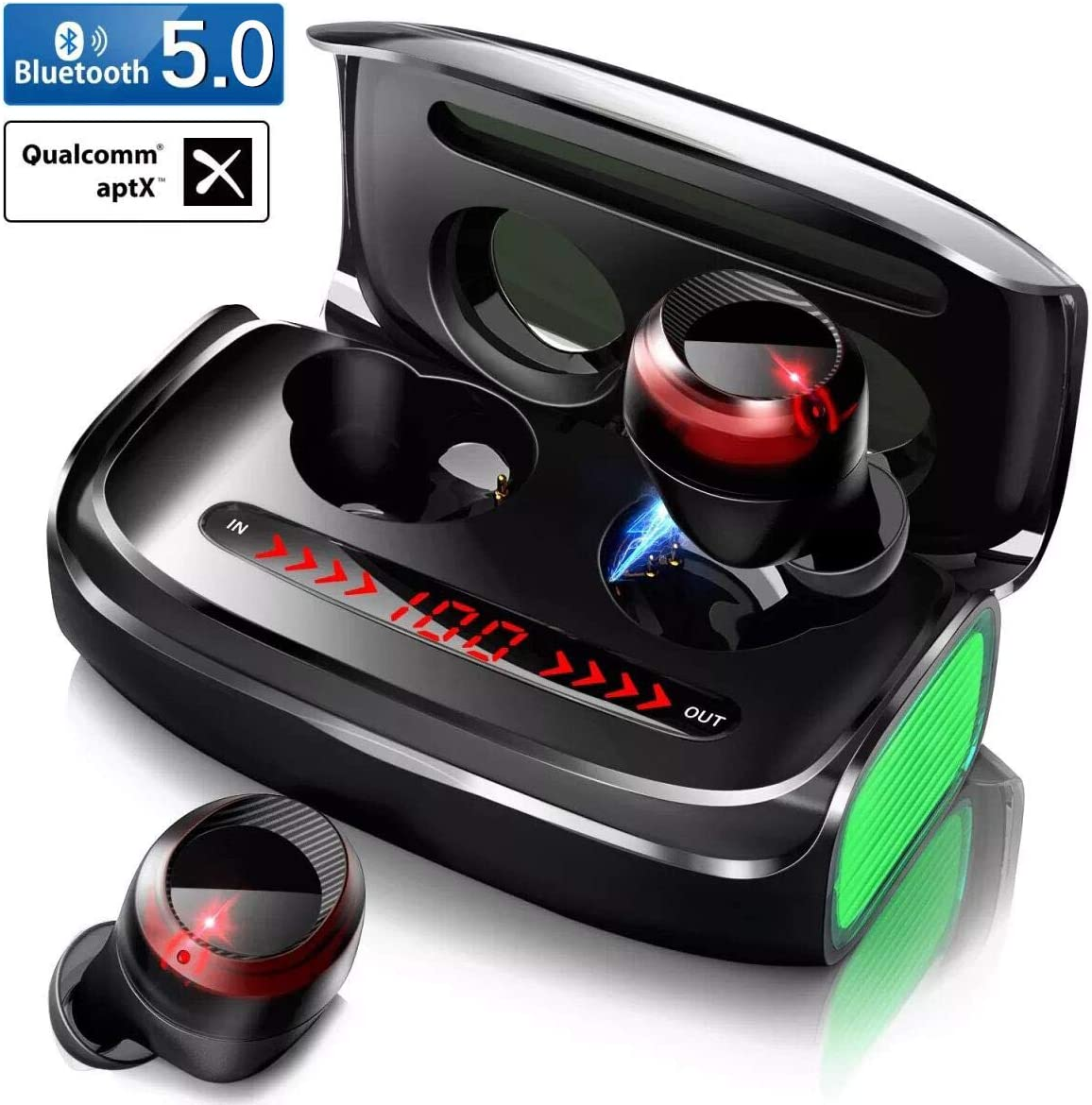 Wireless Earbuds, GRDE TWS Bluetooth 5.0 Headphones with 3000 mAh Charging Case Deep Bass 170H Playtime CVC 8.0 Noise Canceling LED Display in-Ear Earphones Bluetooth Earbuds Built-in Mic Headset