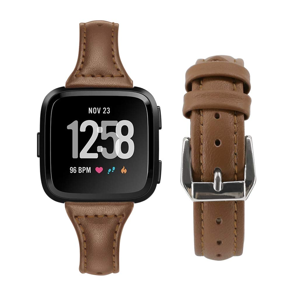 Fundro Compatible for Fitbit Versa, Genuine Leather Fitbit Versa Replacement Band Slim Strap Accessories Fitness Wristband for Versa, Women Men (Brown)