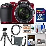Nikon Coolpix B500 Wi-Fi Digital Camera (Red) with 32GB Card + Case + Flex Tripod + Kit Kit