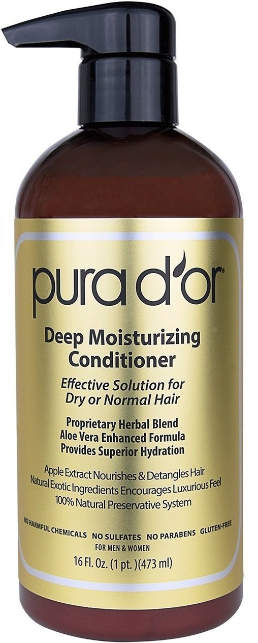 PURA D'OR Deep Moisturizing Conditioner Treatment for Dry Damaged Hair, Softens & Smooths, Infused with Organic Argan Oil & Natural Ingredients, Color Safe, Sulfate Free, For Men & Women, 16 Fl Oz