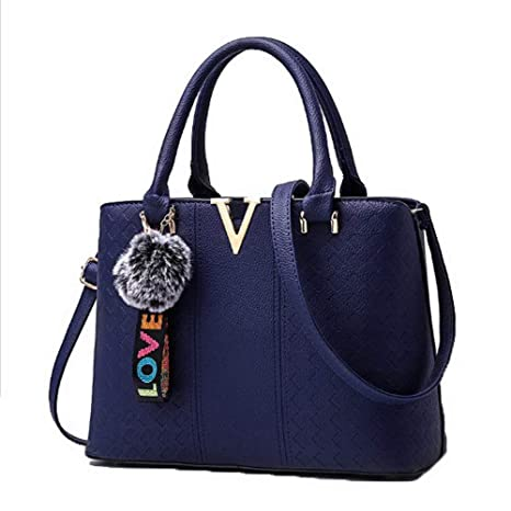 Amazon.com: AalarDom Womens Fashion Tote Bags Pu Pom-Poms ...