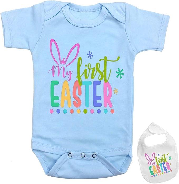 Baby Girl My First Easter Vest Babygrow Bodysuit Cute Bunny Ears Present Infant