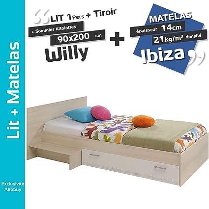 Willy – Pack Cama 90 x 200 cm con cajones + somier altolattes ...