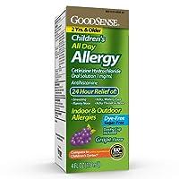 GoodSense Children's All Day Allergy, Cetirizine Hydrochloride Oral Solution 1 mg/mL, Grape Flavor, 4 Fluid Ounces