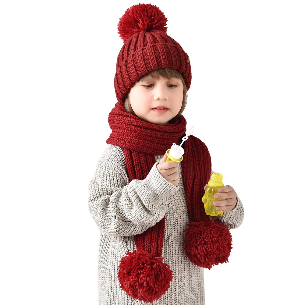 FURTALK Kids Winter Knitted Faux Fur Pom Pom Cap Toddler Boys Girls Kids Beanie Hat (Ages 2-8) (One Size, red+Knit red)