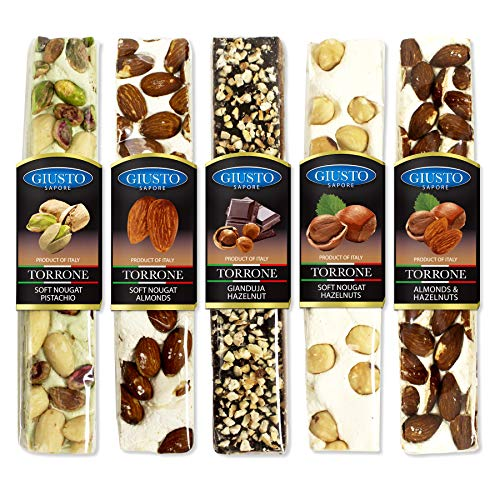 Torrone Nougat - Giusto Sapore Torrone Bar 3.5oz - Premium Gluten Free Dessert Brand - Imported from Italy and Family Owned (Nut, 5 Pack)