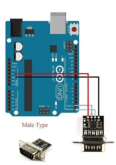 Conversor RS232 A TTL ultra compacto con macho DB9 (3V a 5.5V): Amazon.es: Informática