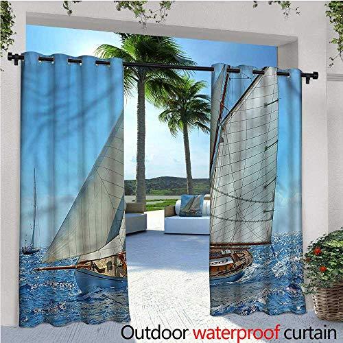 warmfamily Nautical Fashions Drape Sailboat Regatta Race Outdoor Curtain Waterproof Rustproof Grommet Drape W72 x L84
