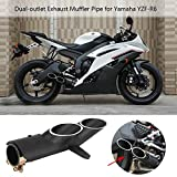 Anauto Motorcycle Dual-outlet Exhaust Tail Pipe Muffler Tailpipe Tip for Yamaha YZF-R6 Suzuki