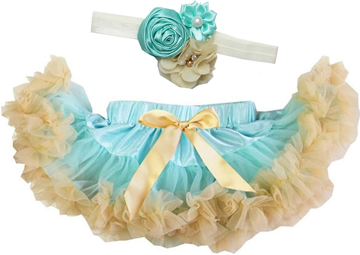 Kirei Sui Baby Mint Goldenrod Pettiskirt /& Vintage Flower Headband Set