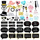 Wedding Photo Booth Props DIY Kit, Konsait Wedding Photo Prop with Wooden Dowels (53 Counts)
