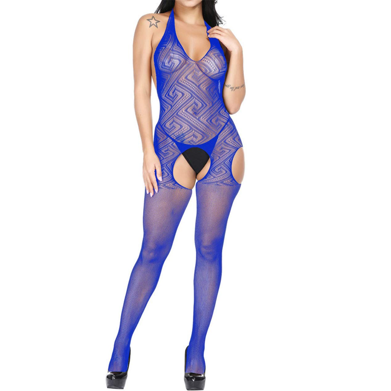 TIFENNY Women's Sexy Appeal Jumpsuit Silk Stockings Clubwear Tight High Elasticity Uniform Temptation Pants