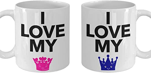 Amazon Com Couple Gift Mug Cute I Love My King Queen Coffee Mugs