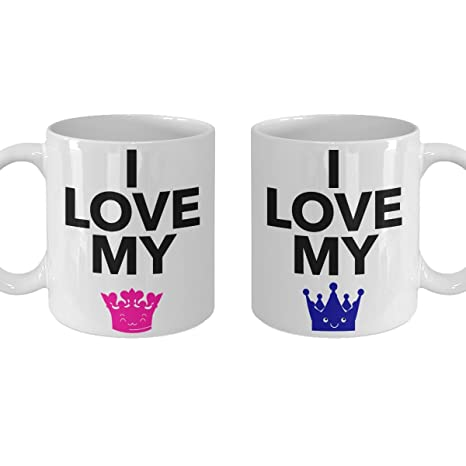 Cute Christmas Ideas For Couples.Amazon Com Couple Gift Mug Cute I Love My King Queen