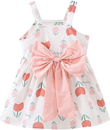 Toddler Baby Kids Girls Strap Floral Ruched Bow Princess Dresses Clothes+Hat