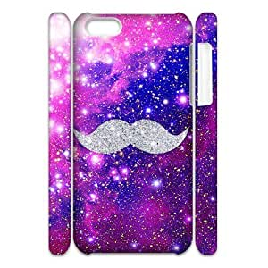 wugdiy New Fashion Hard Back Cover 3D Case for iPhone 5C with New Printed Mustache