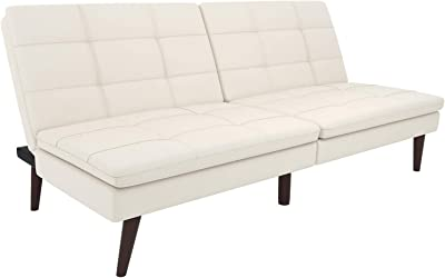 Tufted Pillowtop Futon, White Faux Leather, Soft Linen Fabric, Wooden Legs, Sofa, Living Room Furniture, Convertible, Sturdy Construction, Bundle with Our Expert Guide with Tips for Home Arrangement