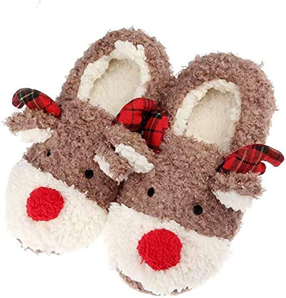 Unisex One Size Gift//Present Plush Christmas Reindeer Heat Pack Slippers