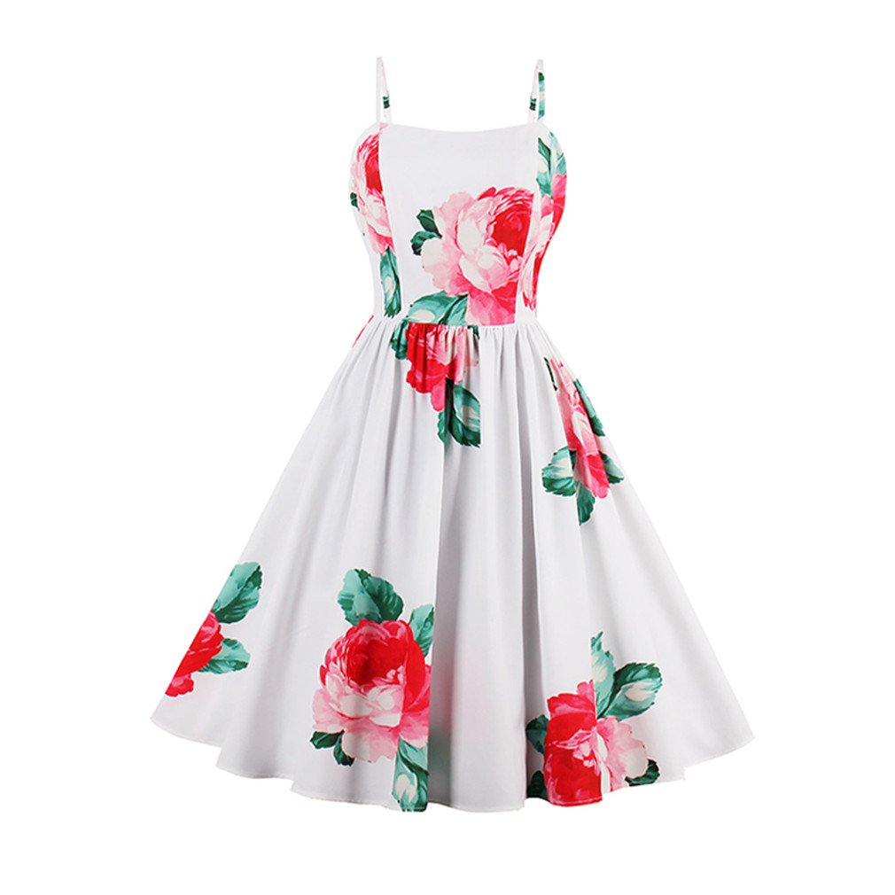 Print Spaghetti Strap Beach Summer Dresses Elegant A-Line Flower Vintage Dress White M