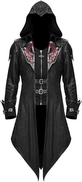 Devil Fashion Pour Hommes Gothique Veste Capuche Noir Dieselpunk Assassins Creed Amazon Fr Vetements Et Accessoires