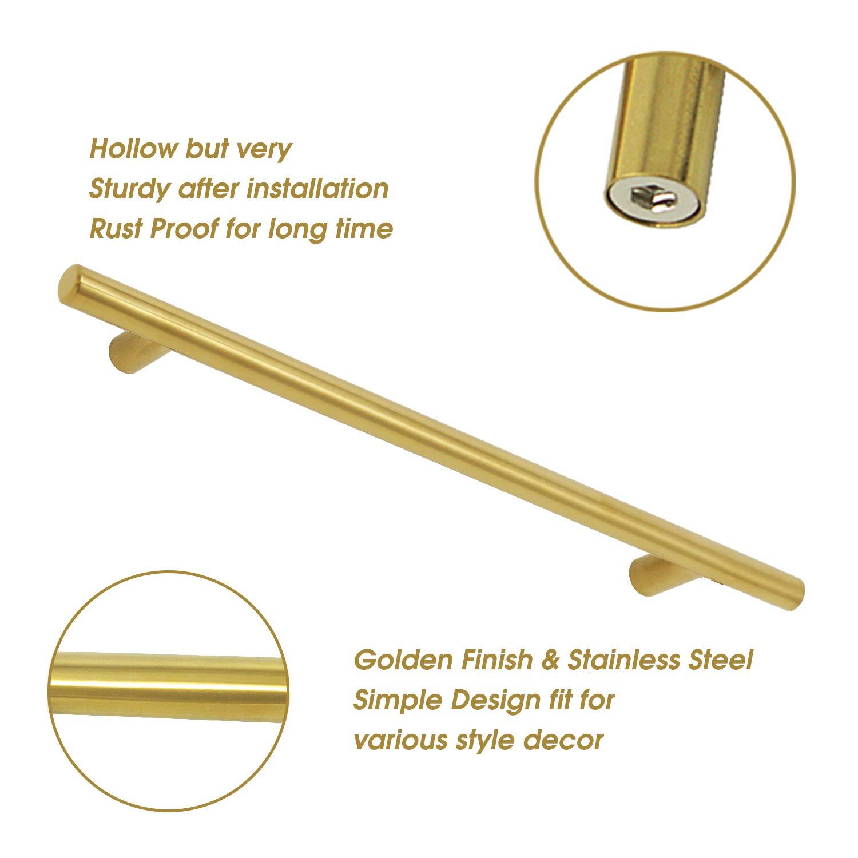 finitura ottone spazzolato in acciaio inox Maniglia rettangolare a T per cassetti e ante della cucina colore oro; confezione da 15/pezzi