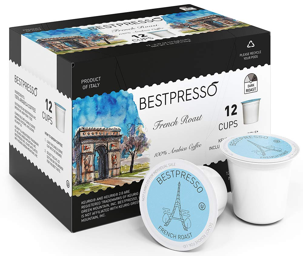 Bestpresso Coffee, French Roast Single Serve K-Cup, 96 Count (Compatible With 2.0 Keurig Brewers) 8 Packs Of 12 Cups
