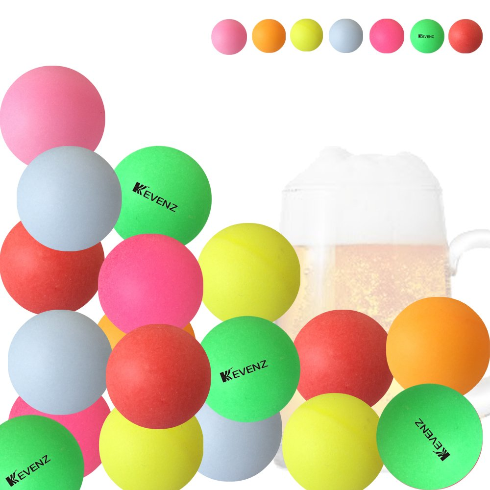 KEVENZ 50-Pack 40mm Beer Ping-Pong Multipul Color Balls,Washable Plastic Glow in The Dark, Plastic Table Tennis Ball